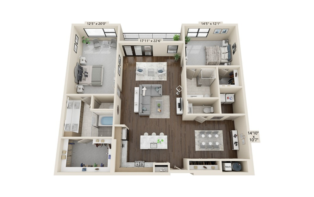 B10 - 2 bedroom floorplan layout with 2.5 baths and 1911 square feet.
