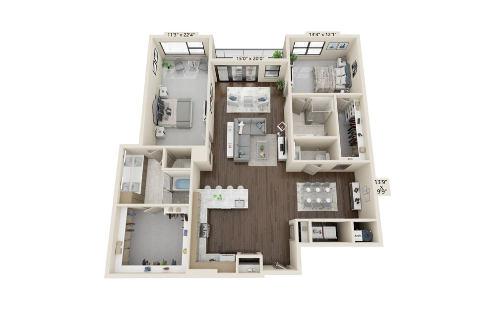 B11 - 2 bedroom floorplan layout with 2.5 baths and 1934 square feet.