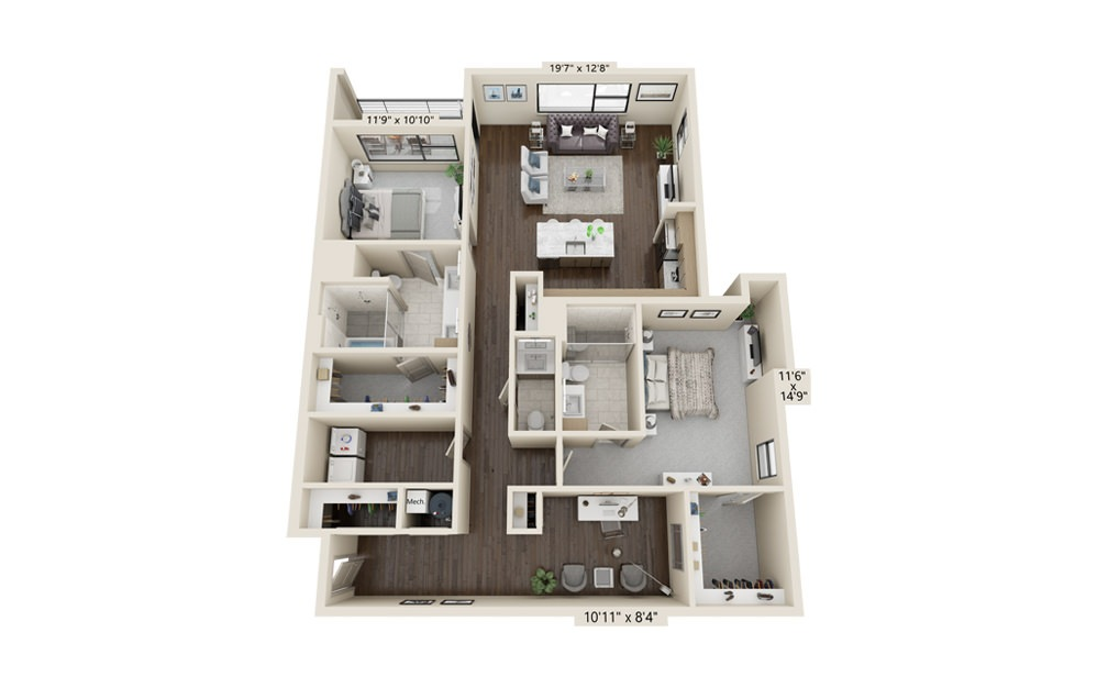 B12 - 2 bedroom floorplan layout with 2.5 baths and 1800 square feet.