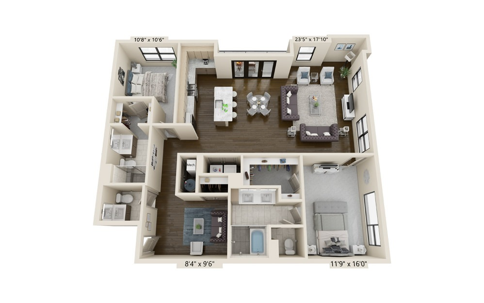 B13 - 2 bedroom floorplan layout with 2.5 baths and 1858 square feet.
