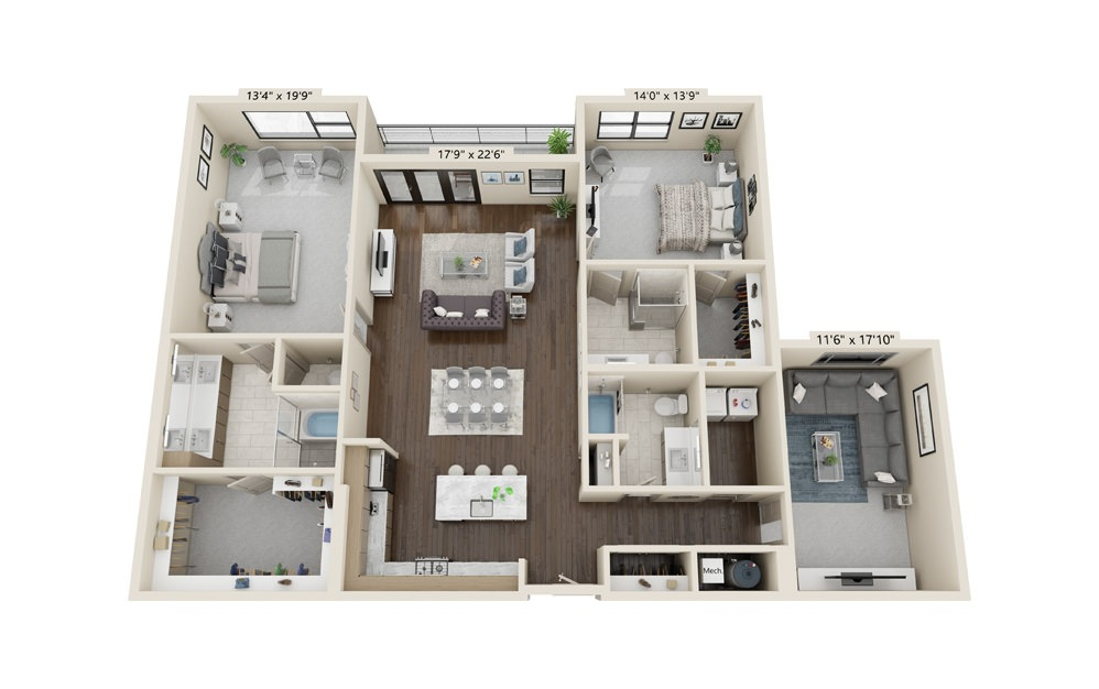 B15 - 2 bedroom floorplan layout with 3 baths and 2213 square feet.