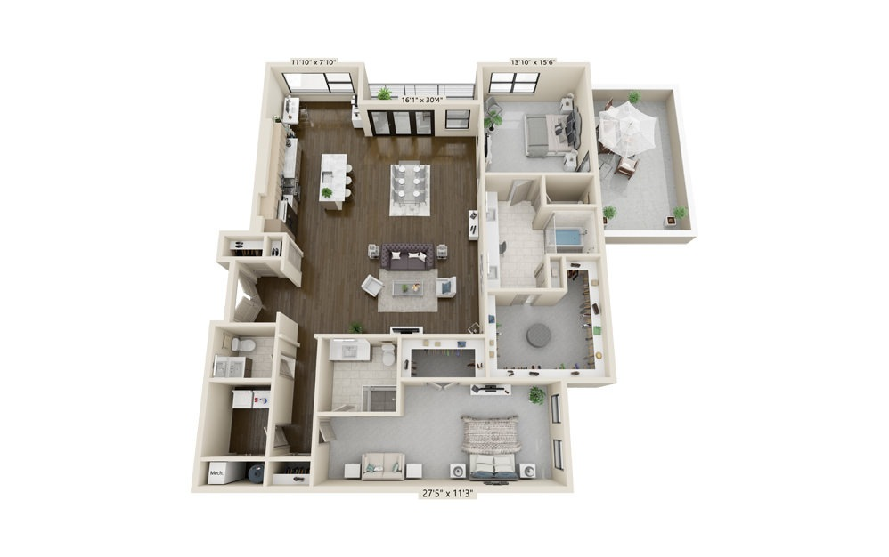 B16 - 2 bedroom floorplan layout with 2.5 baths and 2234 square feet.