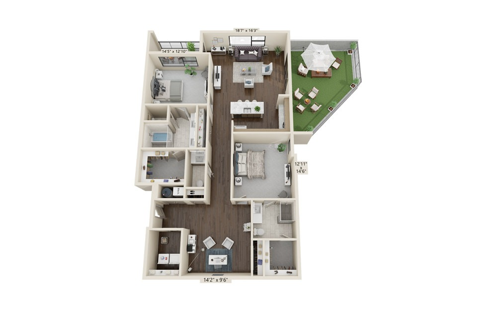 B17 - 2 bedroom floorplan layout with 2.5 baths and 1903 square feet. (Balcony)