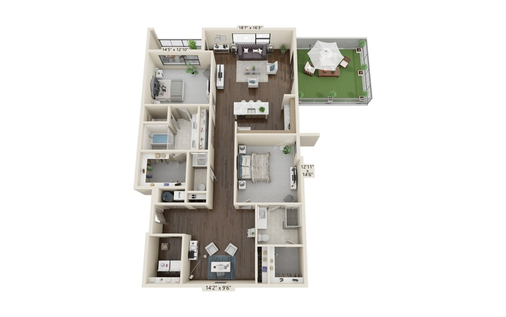 B17 - 2 bedroom floorplan layout with 2.5 baths and 1903 square feet. (Terrace 1)