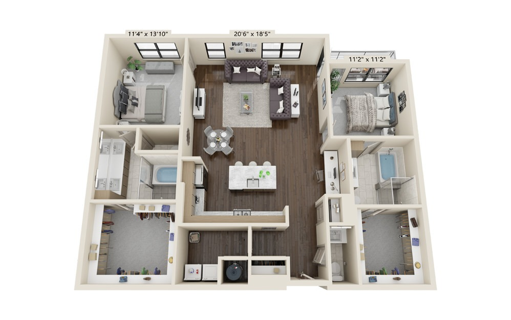 B8 - 2 bedroom floorplan layout with 2.5 baths and 1764 square feet.