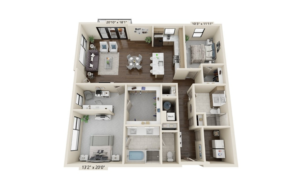 B9 - 2 bedroom floorplan layout with 2 baths and 1784 square feet.