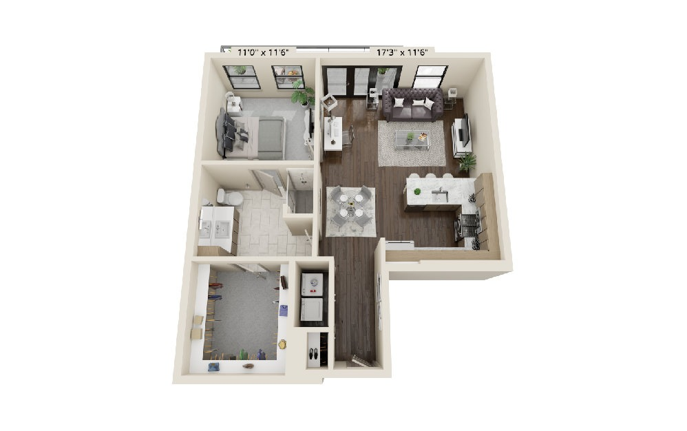 A1 - 1 bedroom floorplan layout with 1 bath and 915 square feet.