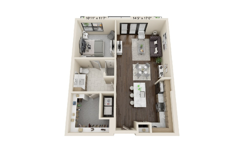 A2 - 1 bedroom floorplan layout with 1 bath and 946 square feet.