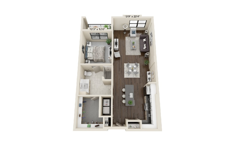 A3 - 1 bedroom floorplan layout with 1 bath and 1002 square feet.