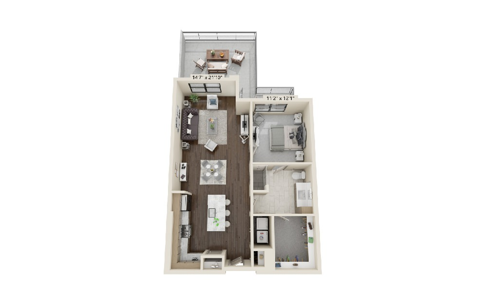 A4 - 1 bedroom floorplan layout with 1 bath and 1006 square feet. (Terrace)