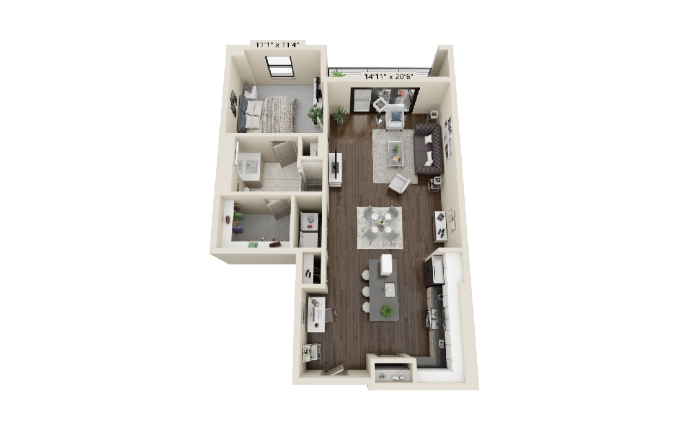 A5 - 1 bedroom floorplan layout with 1 bath and 1013 square feet.