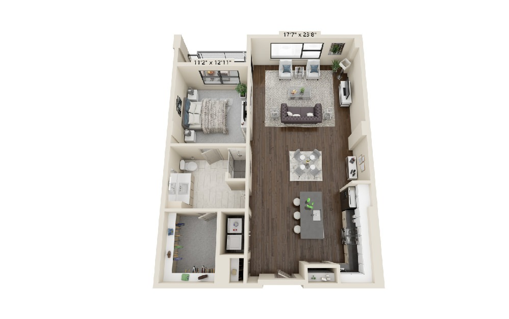 A6 - 1 bedroom floorplan layout with 1 bath and 1192 square feet.