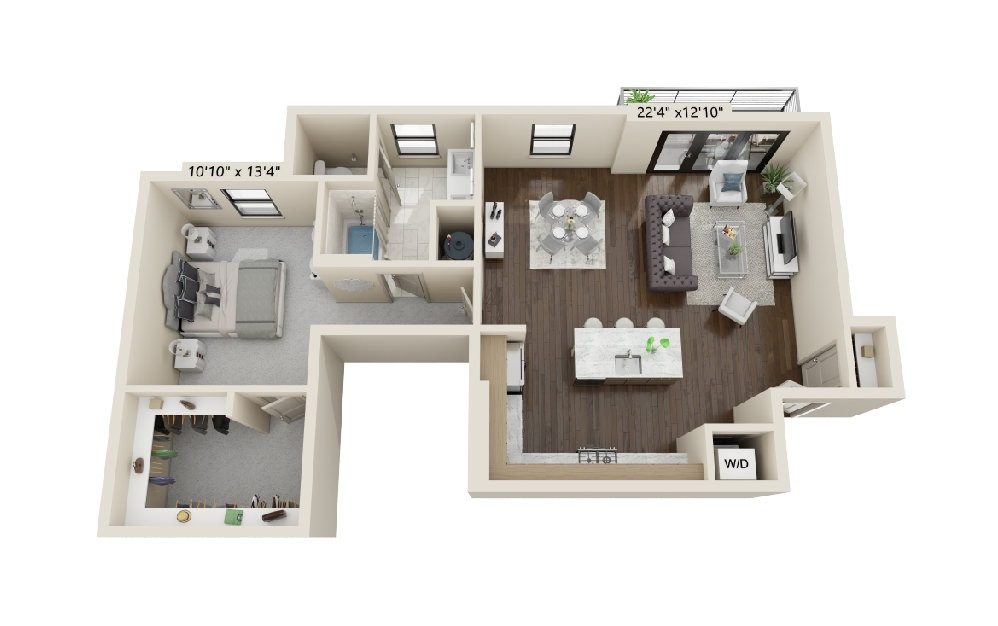 A7 - 1 bedroom floorplan layout with 1 bath and 1063 square feet. (Balcony)