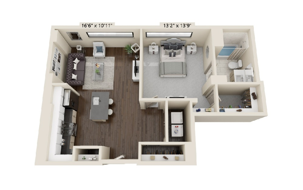 A9 - 1 bedroom floorplan layout with 1 bath and 893 square feet.