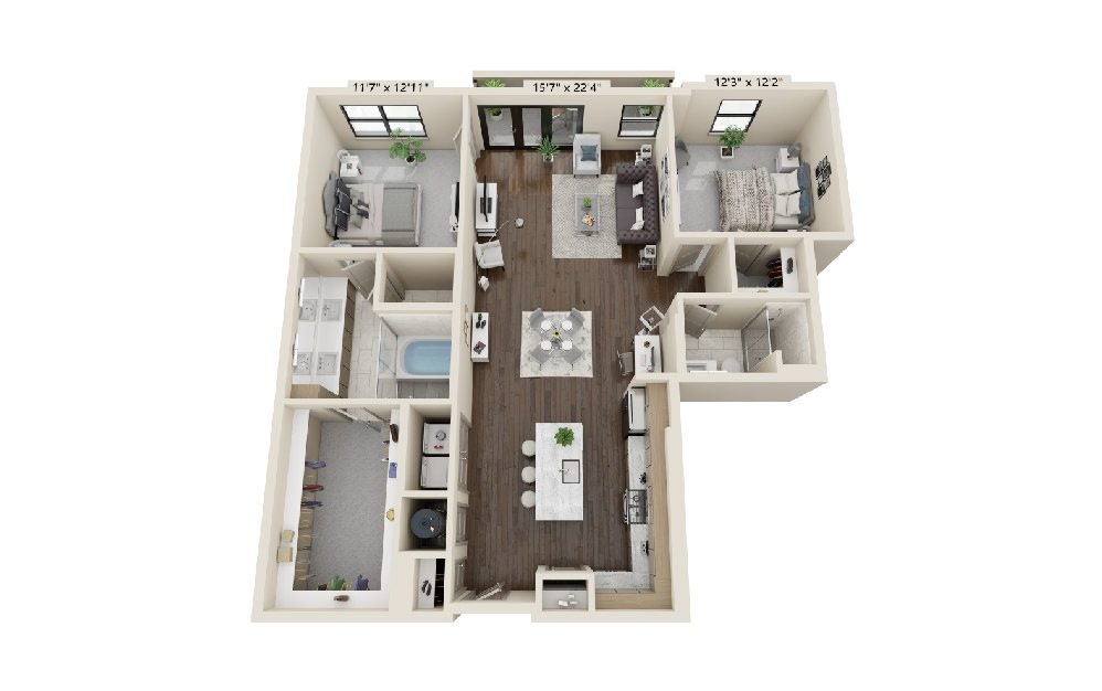 B1 - 2 bedroom floorplan layout with 2 baths and 1525 square feet.