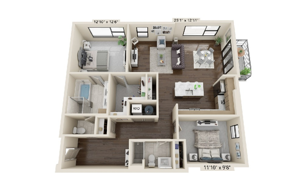 B2 - 2 bedroom floorplan layout with 2 baths and 1502 square feet.