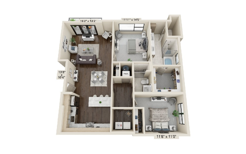 B3 - 2 bedroom floorplan layout with 2 baths and 1495 square feet. (Balcony)