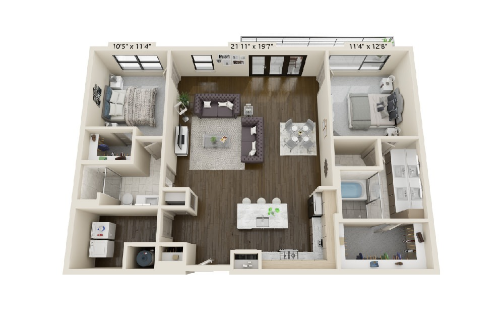 B4 - 2 bedroom floorplan layout with 2 baths and 1589 square feet. (Balcony)
