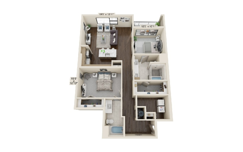B5 - 2 bedroom floorplan layout with 2 baths and 1519 square feet.