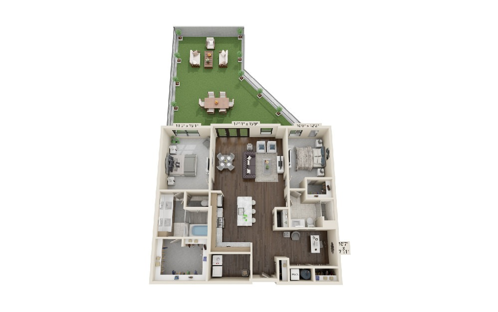 B6 - 2 bedroom floorplan layout with 2 baths and 1650 square feet.