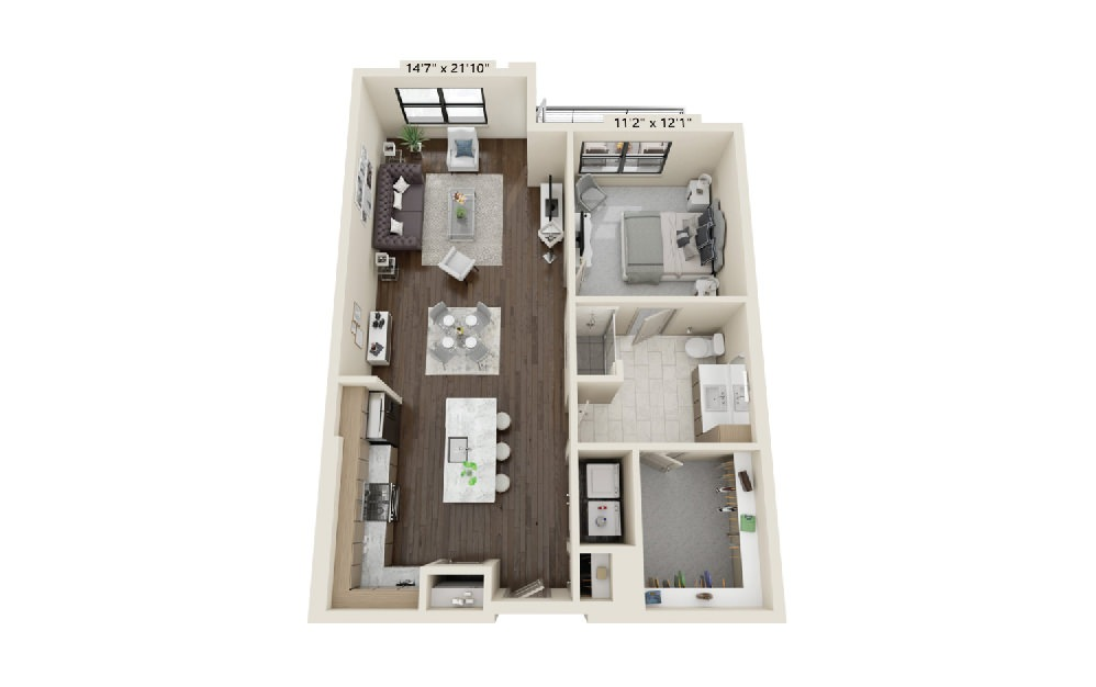 A4 - 1 bedroom floorplan layout with 1 bath and 1006 square feet. (Balcony)