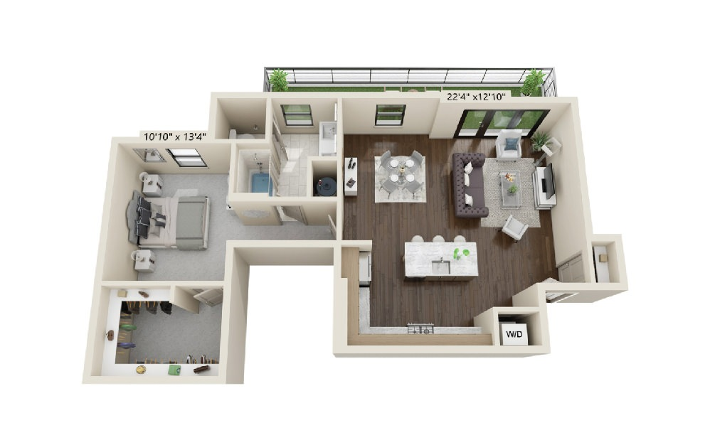 A7 - 1 bedroom floorplan layout with 1 bath and 1063 square feet. (Terrace)