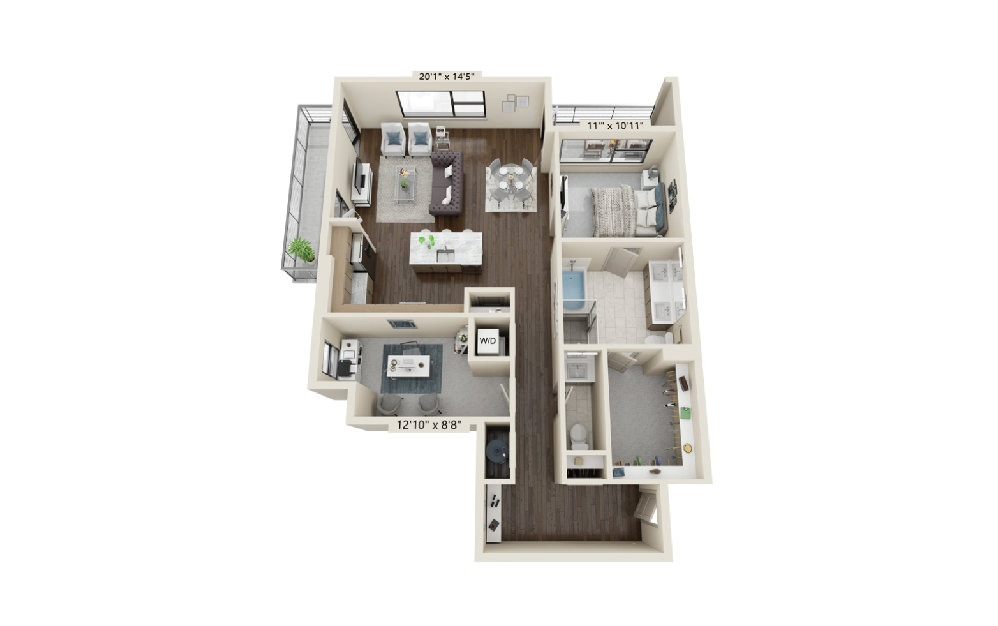 A8 - 1 bedroom floorplan layout with 1.5 bath and 1388 square feet.
