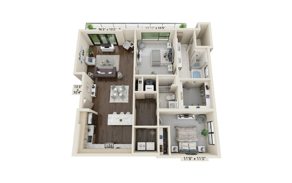 B3 - 2 bedroom floorplan layout with 2 baths and 1495 square feet. (Terrace)
