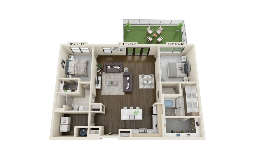 B4 - 2 bedroom floorplan layout with 2 baths and 1589 square feet. (Terrace)