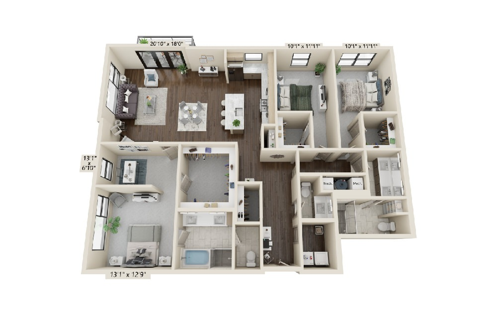 C2 - 3 bedroom floorplan layout with 2.5 baths and 2162 square feet.