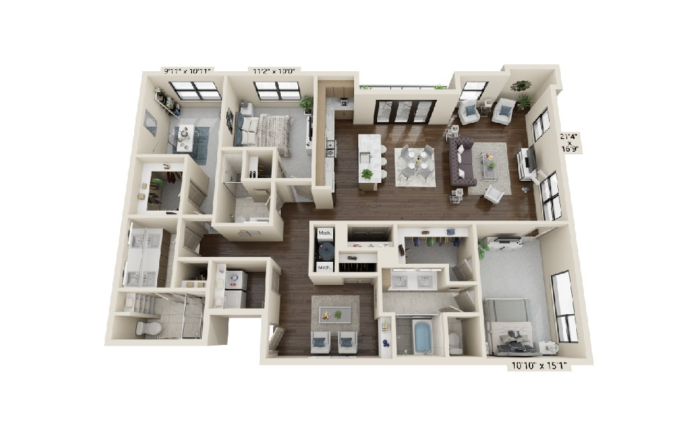 C4 - 3 bedroom floorplan layout with 3 baths and 2349 square feet.