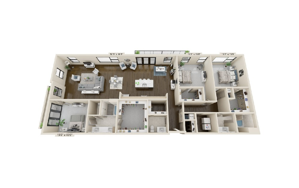 C5 - 3 bedroom floorplan layout with 2.5 baths and 2581 square feet. (Balcony)