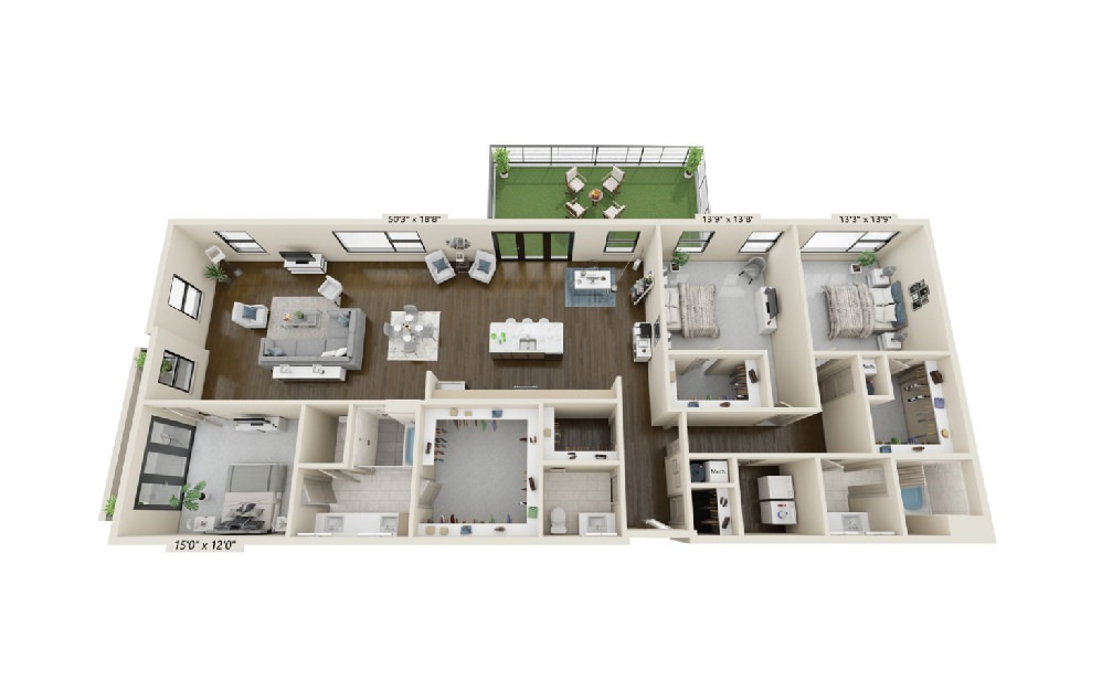 C5 - 3 bedroom floorplan layout with 2.5 baths and 2581 square feet. (Terrace)