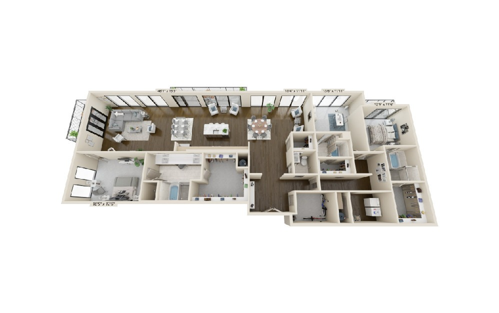 C6 - 3 bedroom floorplan layout with 3.5 baths and 3301 square feet.